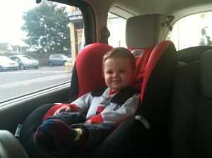 First time in his big boy seat
